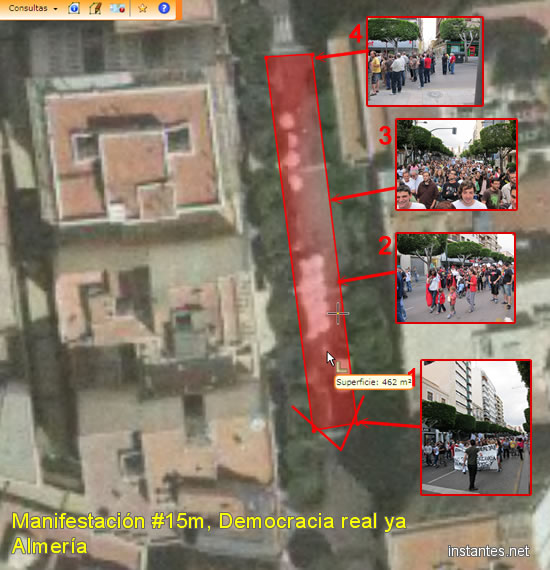 Vista satélite del área ocupada por la manifestación