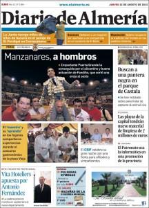 Portada de Diario de Almería 2013 08 22