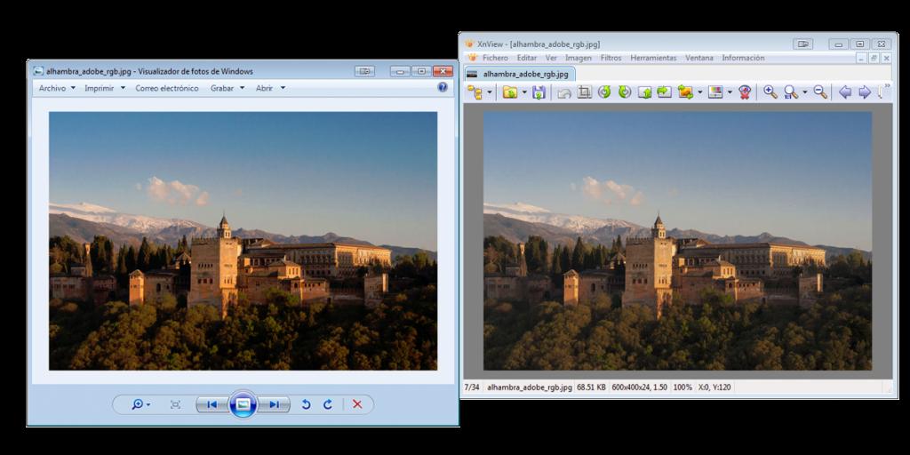 Un ejemplo de gestión del color: La misma imagen vista en el Visualizador de fotos de Windows y en XnView