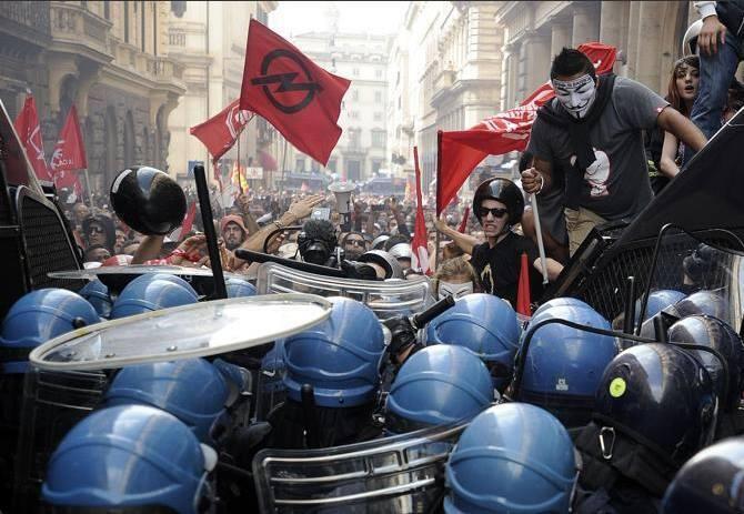 Protestas en Roma 31 de octubre de 2013