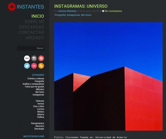 Antes del nuevo diseño Instantes.net se veía así (tema: Elinstante)