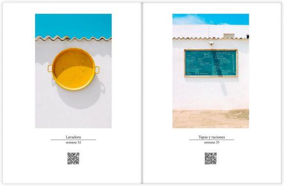 """Interior de """"52 semanas"""" en su edición física. Muestra de diseño simétrico."""
