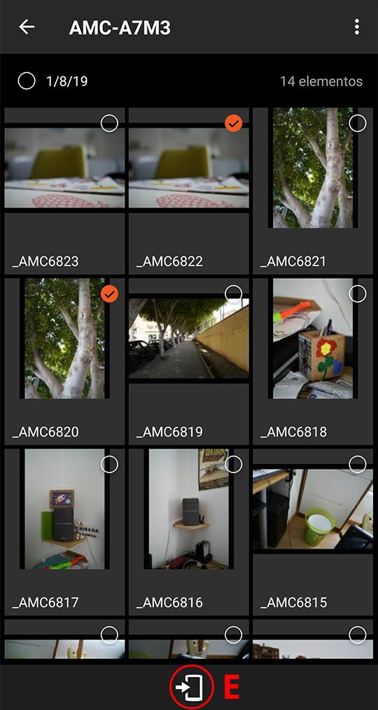 Seleccionando las imágenes que queremos copiar al móvil